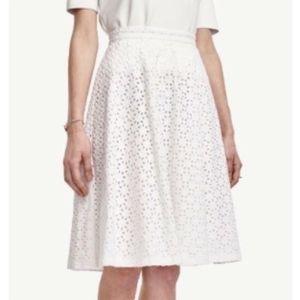 NWT Ann Taylor Diamond Eyelet Full Skirt White